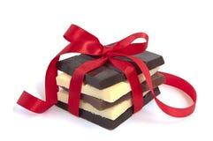 Witte en donkere chocolade Stock Foto