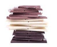 Witte en donkere chocolade de van de melk, Stock Fotografie