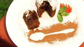 Witte en donkere chocolade en verscheurde die noot op witte achtergrond wordt geïsoleerd stock footage