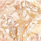 Witte en gouden marmeren textuur De hand trekt het schilderen met marmertextuur en goud en bronskleuren Gouden marmer Stock Fotografie