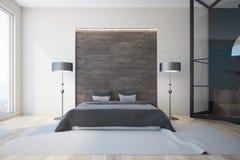 Witte en grijze slaapkamer, open haard stock illustratie