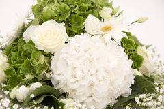 Witte en groene Hydrangea hortensiabloem Hortensia of Ortensia met witte rozen en gypsophila Het wieden van decoratieornamenten Royalty-vrije Stock Afbeeldingen