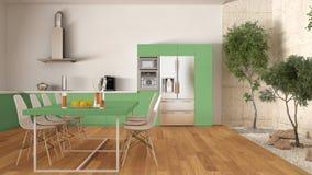 Witte en groene keuken met binnentuin, minimale binnenlandse desi Royalty-vrije Stock Foto