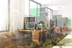 Witte en groene moderne gestemde bureauhoek Royalty-vrije Stock Afbeeldingen
