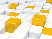 Witte en oranje kubussen Stock Fotografie