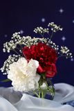 Witte en rode bloem in een glasvaas royalty-vrije stock afbeeldingen
