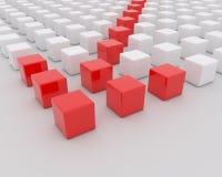 Witte en rode blokken op de witte achtergrond Stock Foto