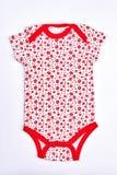 Witte en rode bodysuit van het zuigelingsmeisje Stock Foto's