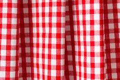 Witte en rode geruite achtergrond stock fotografie
