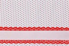 Witte en rode retro stiptextiel Royalty-vrije Stock Foto