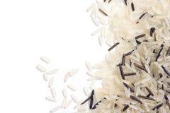 Witte en wilde rijst Stock Foto