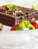 Witte en zwarte chocoladecake Stock Fotografie