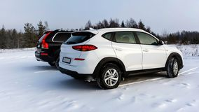 Witte en zwarte die suvauto op een sneeuwgebied wordt geparkeerd royalty-vrije stock afbeelding