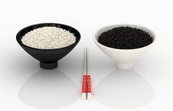Witte en zwarte rijst. Chinese keuken. Royalty-vrije Stock Afbeelding