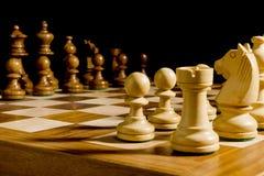 Witte en zwarte schaakstukken Royalty-vrije Stock Fotografie