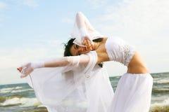 Witte engel op het strand Stock Foto's
