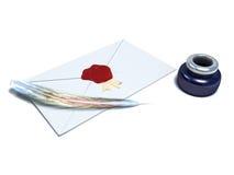 Witte envelop gesloten met rode was Stock Foto's