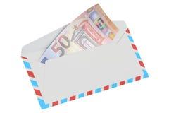 Witte envelop met het euro, 3D teruggeven 50 Royalty-vrije Stock Afbeeldingen