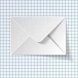 Witte envelop op een geruite document achtergrond Vector Illustratie