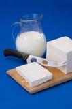 Witte feta kaas en melk Stock Afbeelding