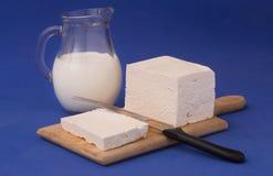 Witte feta kaas en melk stock afbeeldingen