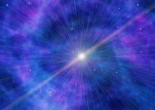 Witte flits op blauwe ruimteachtergronden stock afbeelding