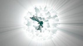 Witte fractal atoom glanzende achtergrond stock illustratie