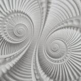Witte fractal van het gipspleisterafgietsel plasterwork spiraalvormige abstracte patroonachtergrond Pleister abstracte spiraalvor Royalty-vrije Stock Afbeelding