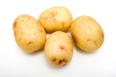 Witte geïsoleerdec aardappels. stock foto's