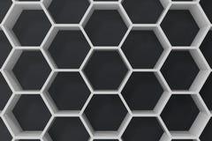 Witte geometrische hexagonale abstracte achtergrond met zwarte muur, het 3D teruggeven vector illustratie