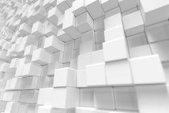 Witte geometrische kubieke kubus, dozen, de abstracte achtergrond van de vierkantenvorm Abstracte Witte Blokken Malplaatjeachterg Stock Foto