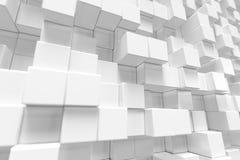 Witte geometrische kubieke kubus, dozen, de abstracte achtergrond van de vierkantenvorm Abstracte Witte Blokken Malplaatjeachterg Royalty-vrije Stock Afbeelding