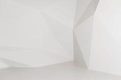 Witte geometrische veelhoekige achtergrond Muren in studio Stock Afbeeldingen
