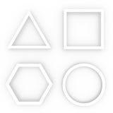 Witte geometrische vormen Royalty-vrije Stock Afbeeldingen