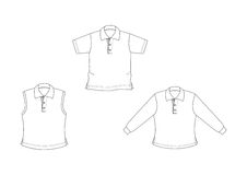 Witte, geschetste polo-overhemden Stock Afbeeldingen
