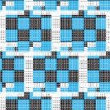 Witte gestormde lijn op zwart blauw vierkant geruit patroon met wh Stock Afbeelding