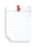 Witte gevoerde document en duwspijker (met het knippen van weg) Stock Fotografie