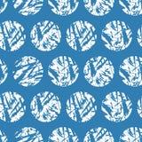 Witte geweven cirkels op blauwe achtergrond Vector naadloos patroon Handdrawn sneeuwballen van de grungewinter Stock Afbeeldingen