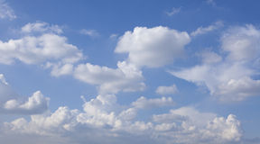 Witte gezwollen wolken en blauwe hemel Stock Foto's
