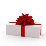 Witte gift met rood lint Vector Illustratie