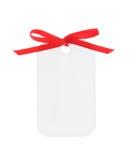 Witte gift met rood lint (het Knippen inbegrepen Weg) Stock Afbeeldingen