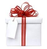 Witte gift rode boog Stock Afbeelding