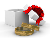 Witte giftdoos met ringen. Royalty-vrije Stock Afbeeldingen