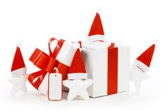 Witte giftdoos met rood lint Stock Foto