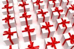 Witte giftdozen in een vierkant Stock Afbeelding