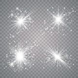 Witte Gloed lichte reeks vector illustratie
