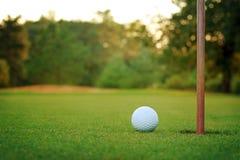 Witte golfbal bij groen zetten Royalty-vrije Stock Afbeeldingen