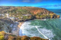Witte golven St Agnes Cornwall England United Kingdom tussen Newquay en St Ives in kleurrijk HDR Stock Foto