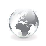 Witte grijze vectorwereldbol - Europa Stock Foto