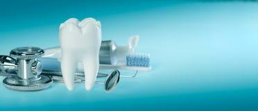 Witte grote gezonde tand en verschillende hulpmiddelen voor tandzorg en stethoscoop, op gradiënt tandachtergrond Bannergrootte stock foto's